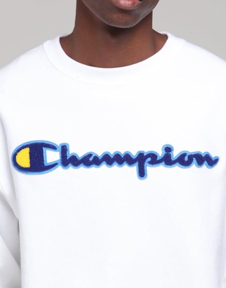 79382006 Champion Reverse Weave Crew W/Chen Script White/Blue/Gold – Culture ...