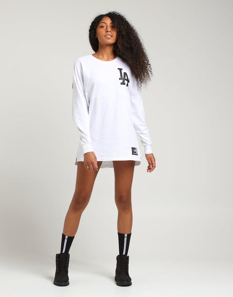 Majestic Athletic Women's Los Angeles Dodgers Oversized L/S Tee White