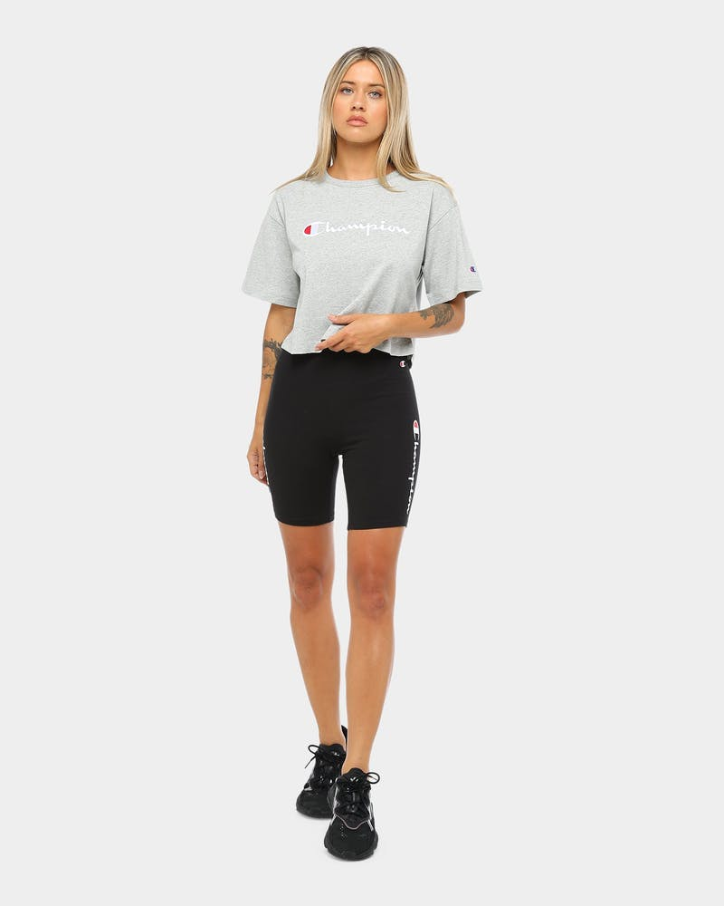 Champion Women's Heritage Tee Large Script Oxford Grey