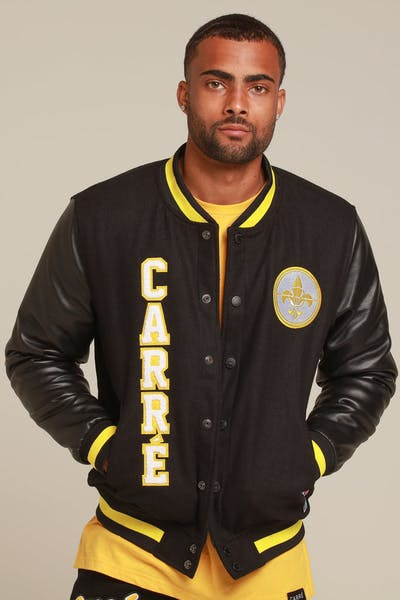 Carré Faculte Varsity Leather Jacket Black