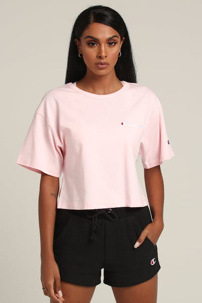 Champion Women's Heritage Tee Mini Script Pink