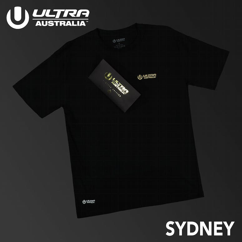 Ultra Australia Music Merch Sydney - Tee & Ticket Combo Black/Gold
