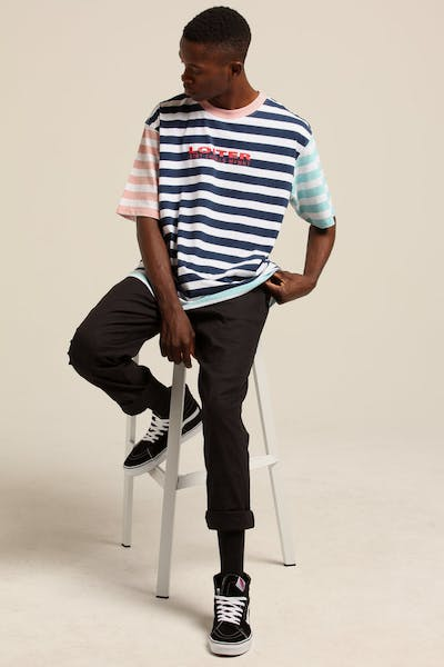 Loiter NYC Pastal Colour Block Stripe Tee Pastel Blue/Pin Stripe