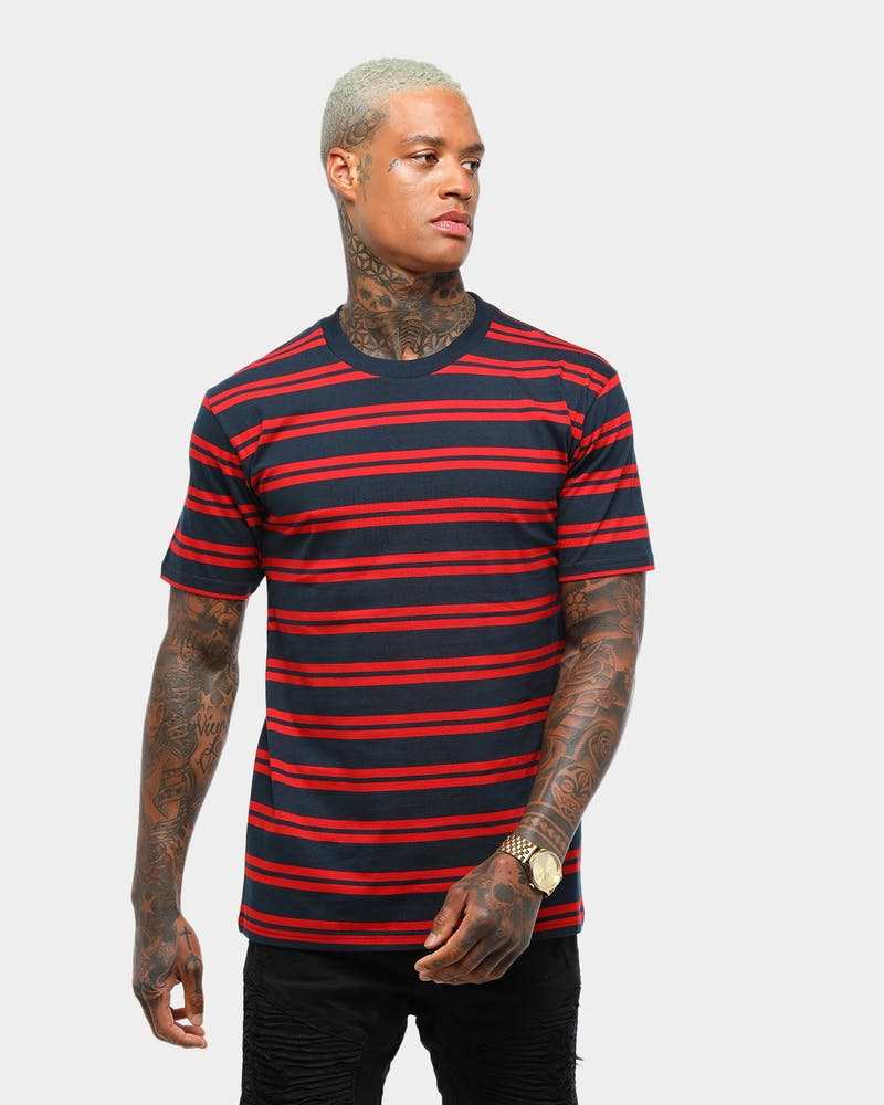 AS COLOUR CLASSIC STRIPE TEE NAVY/RED