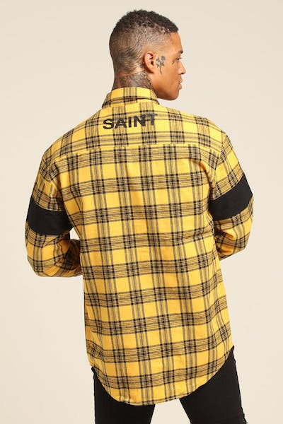 Saint Morta Drift LS Flannel Shirt Yellow/Black
