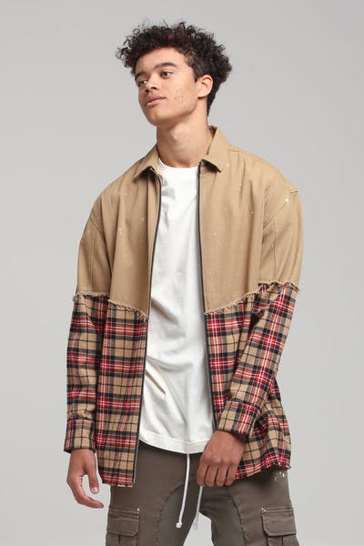 New Slaves Xeno Flannel Shirt Tan/Multi-Coloured