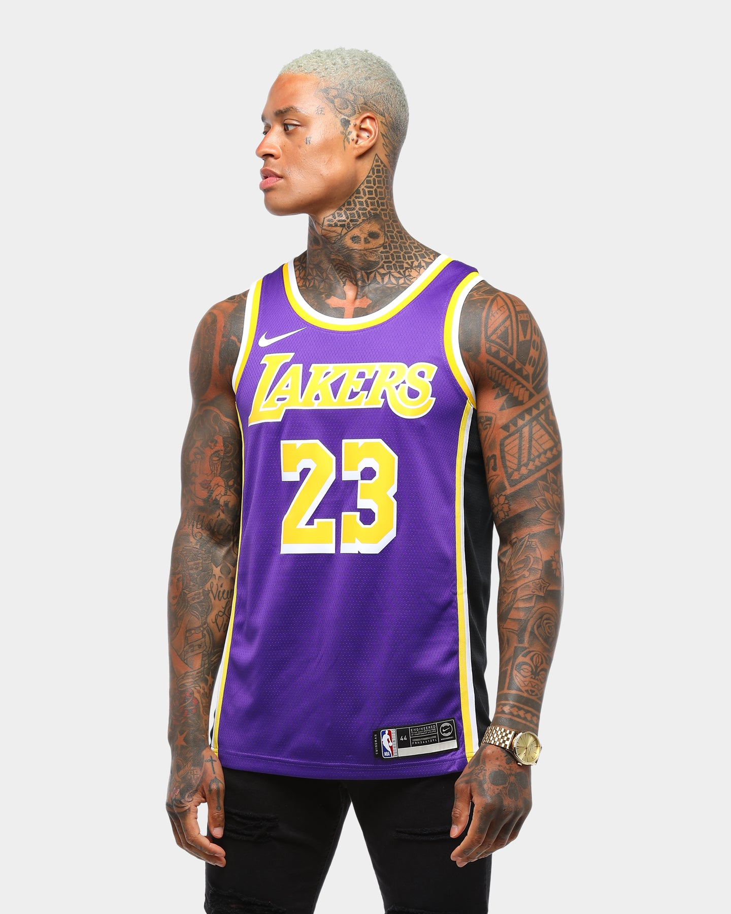Nike Los Angeles Lakers LEBRON JAMES #23 Swingman Jersey PurpleYellowBlack