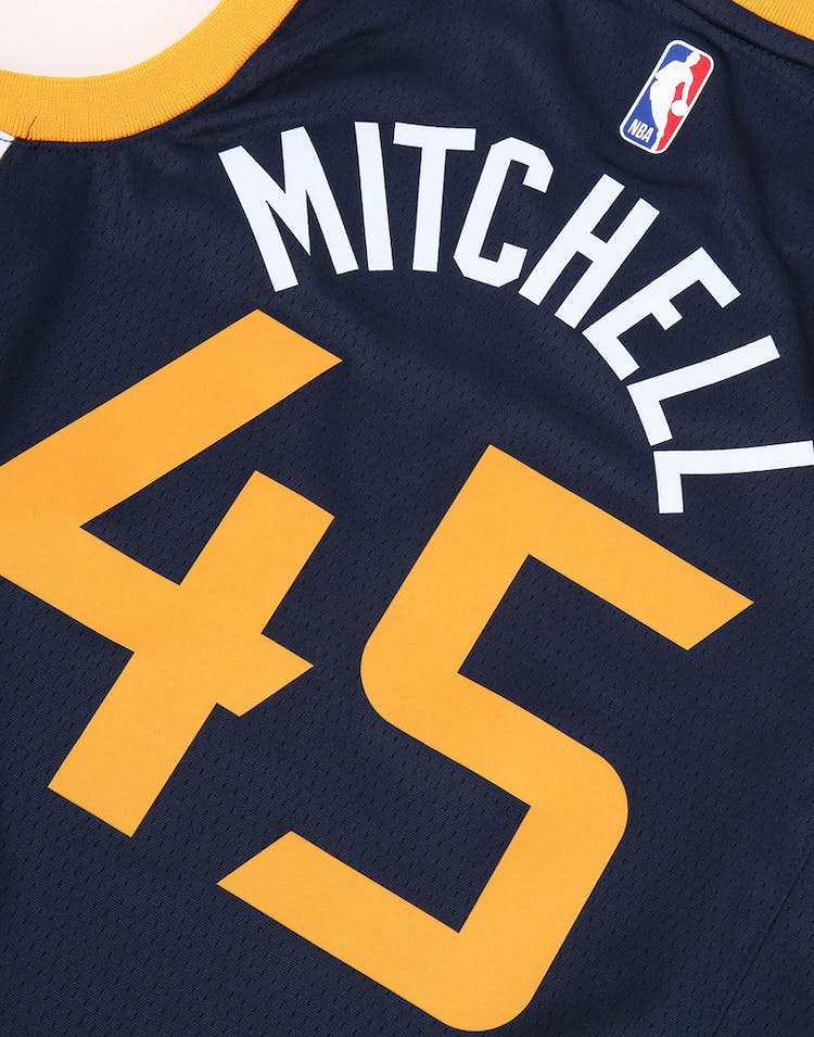 259ae82bf Nike Kids Utah Jazz Donovan Mitchell #45 Icon Swingman NBA Jersey Navy