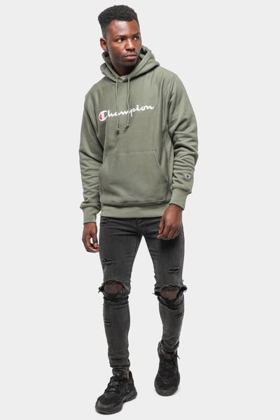 CHAMPION REVERSE WEAVE EMBROIDERED HOOD CARGO OLIVE