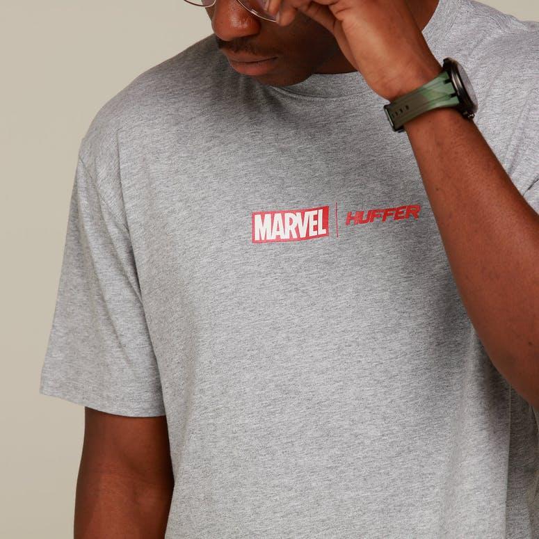 Huffer X Marvel Sup Tee/Marvel Logo Grey Marle