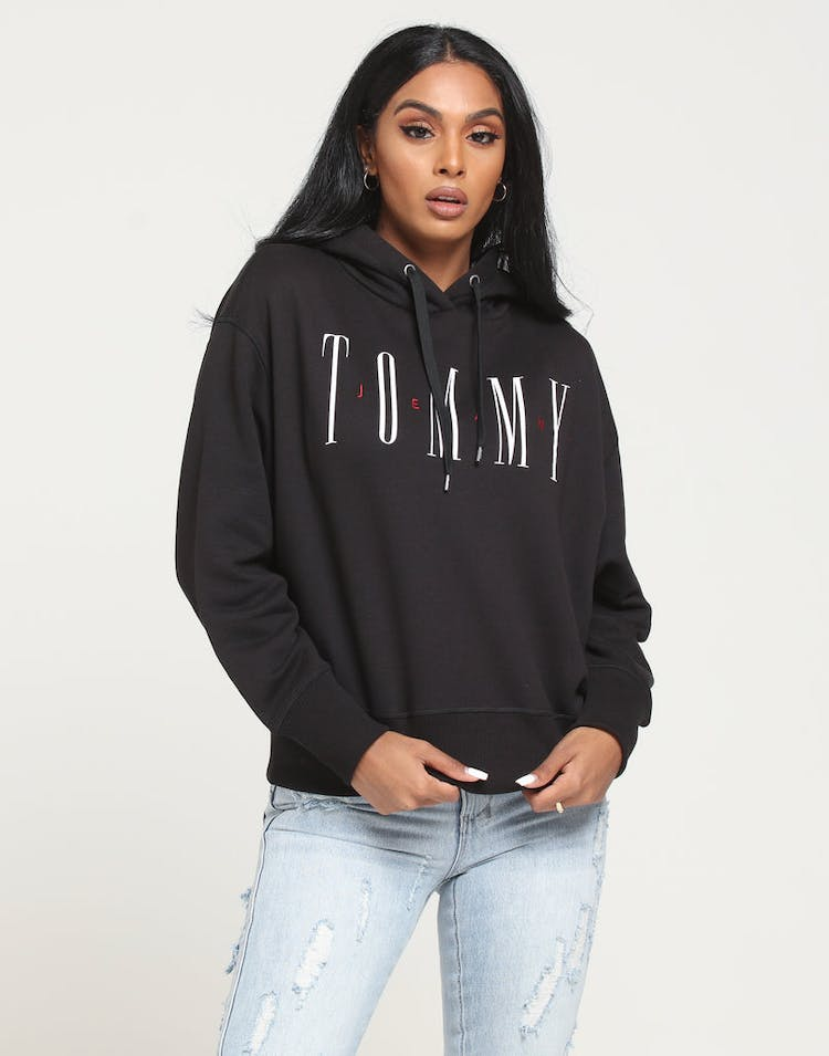 0809c7fb Tommy Jeans Women's TJW Essential Logo Hoodie Tommy Black – Culture ...