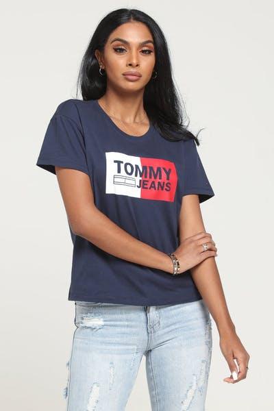 3d4114cbea6 Tommy Jeans Women's TJW Box Logo Tee Black Iris