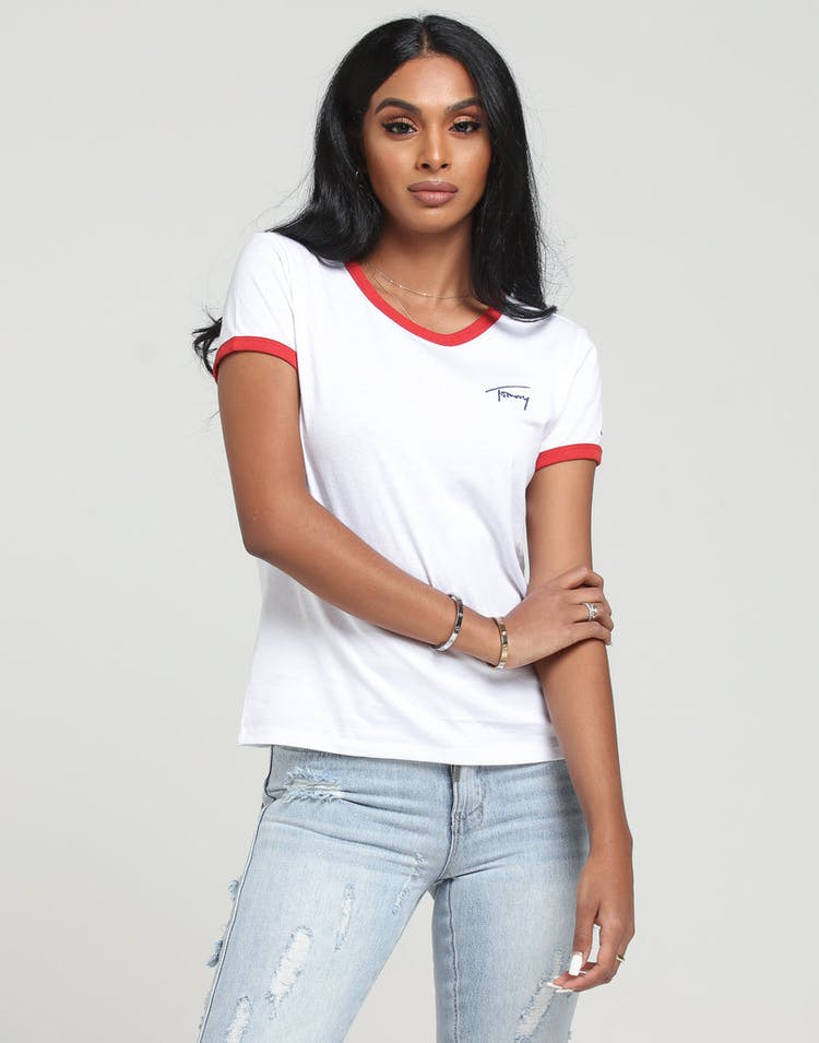 21a340b2c Tommy Jeans Women's TJW Signature Ringer Tee Classic White – Culture ...