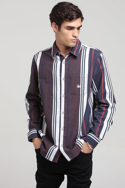 Stussy Direction Vert Stripe LS Shirt Port