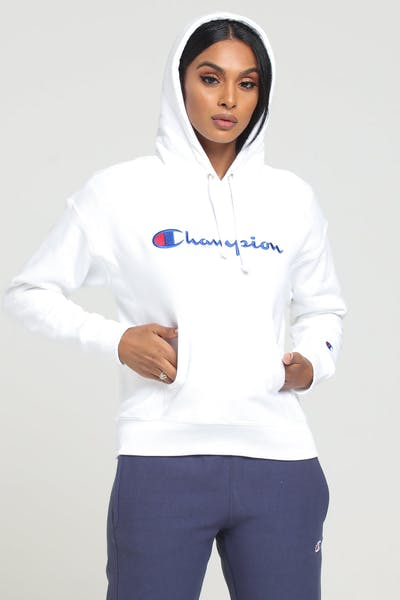 Champion Women's Rev Weave Script Hood White
