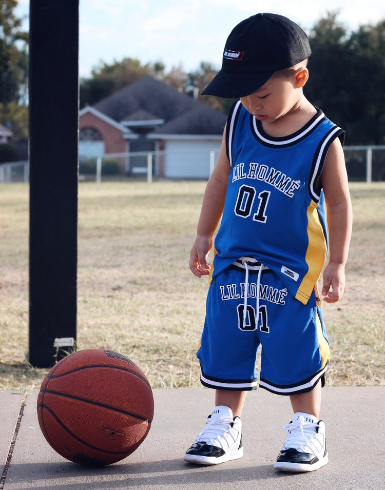 LIL HOMMÉ JOUER BASKETBALL JERSEY BLUE/YELLOW
