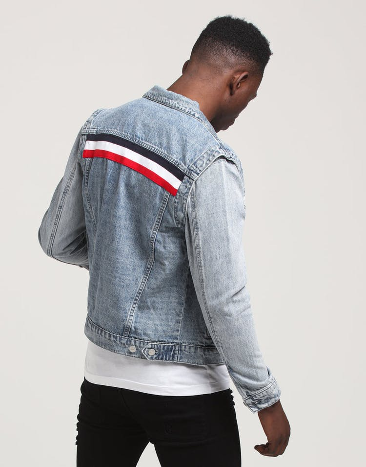 Carré Bouton Denim Jacket Vintage Blue
