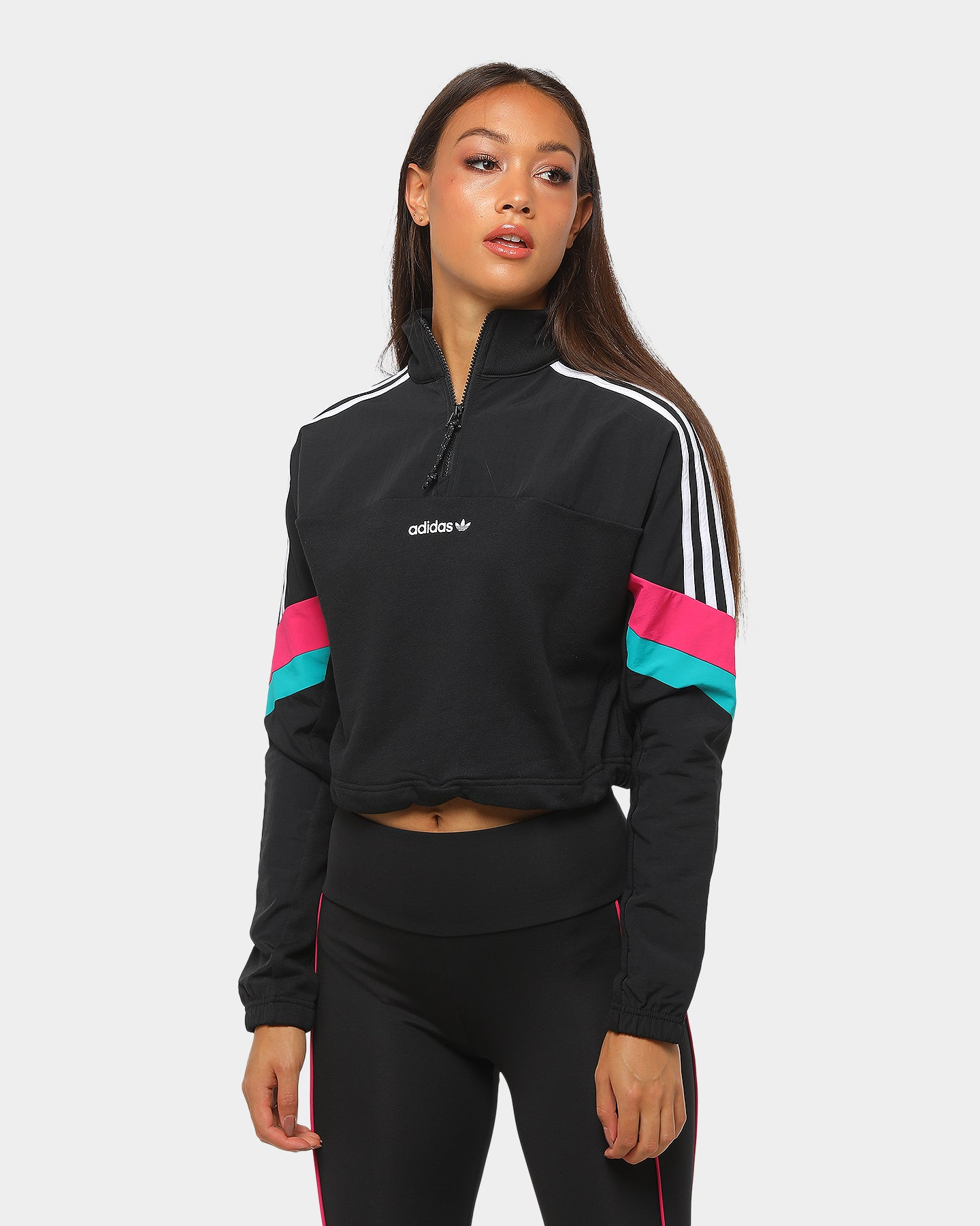 Adidas Women's Half Zip Cropped Top Black