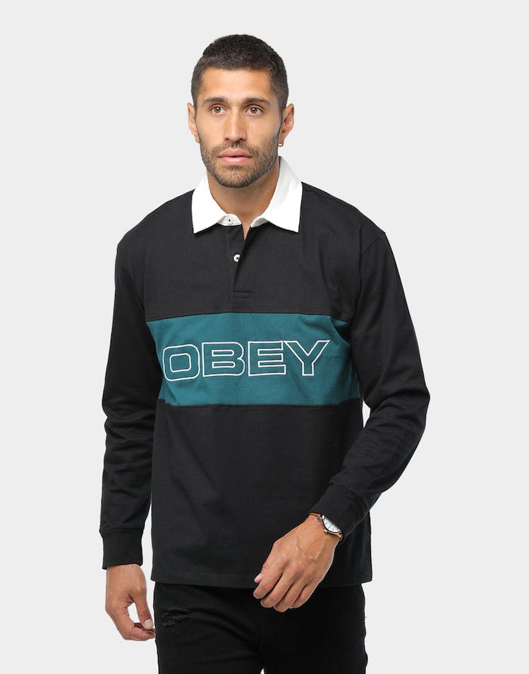Obey Ignite Classic Polo LS Black/Multi-Coloured