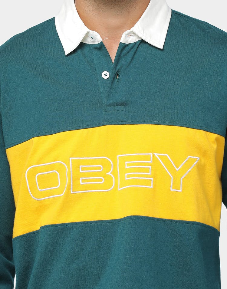 Obey Ignite Classic Polo LS Deep Teal/Multi-Coloured