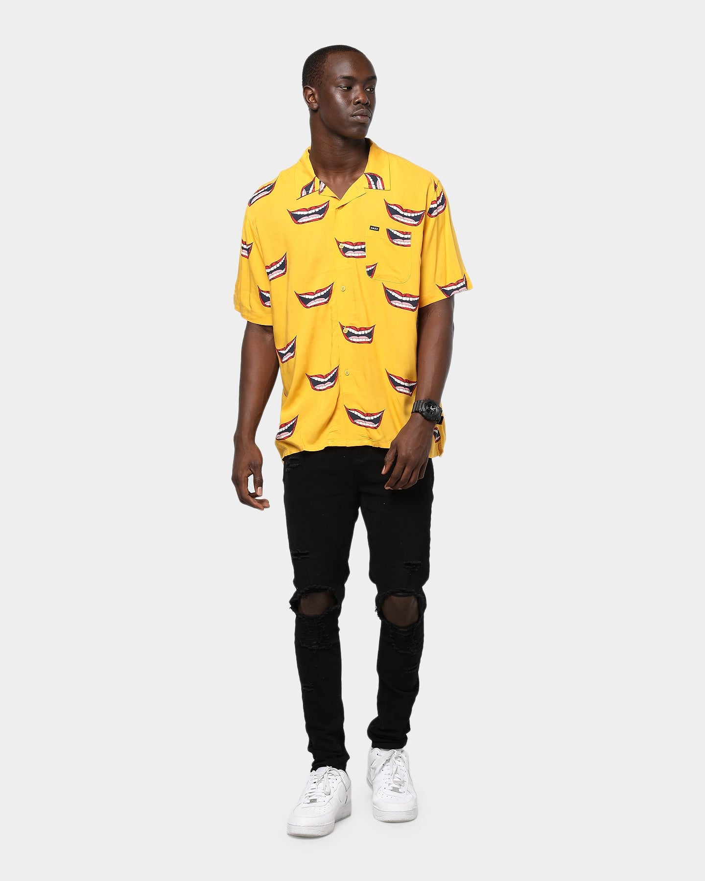 Obey Lips Woven Shirt YellowMulti Coloured