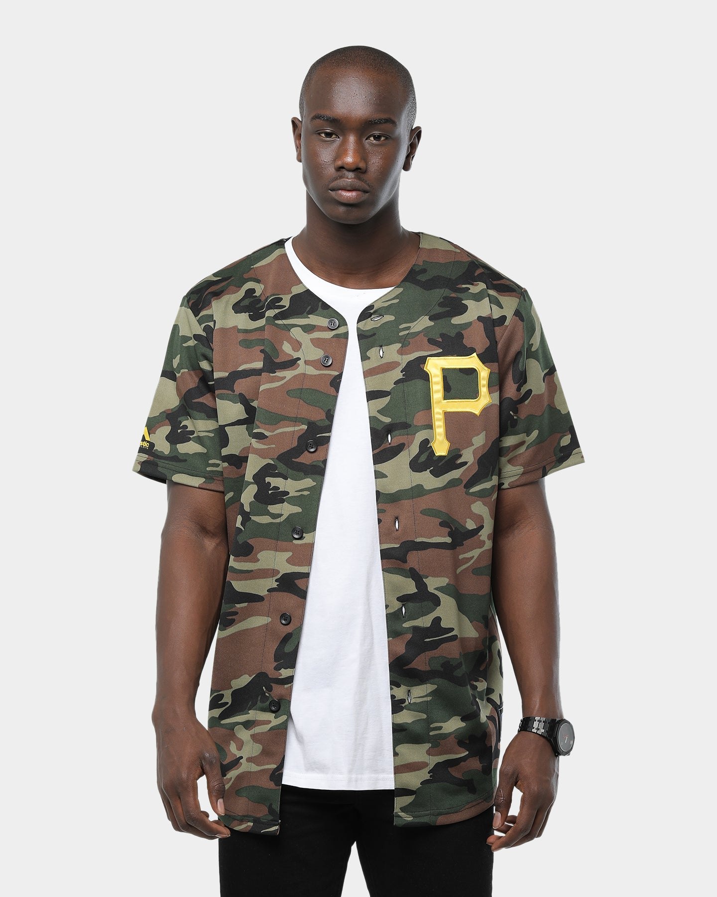 Majestic MLB Men/'s Pittsburgh Pirates Black Yellow Replica Baseball Jersey Top