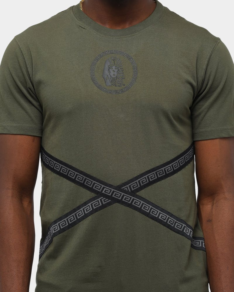 Last Kings Men's Crossover Short Sleeve T-Shirt Army Green