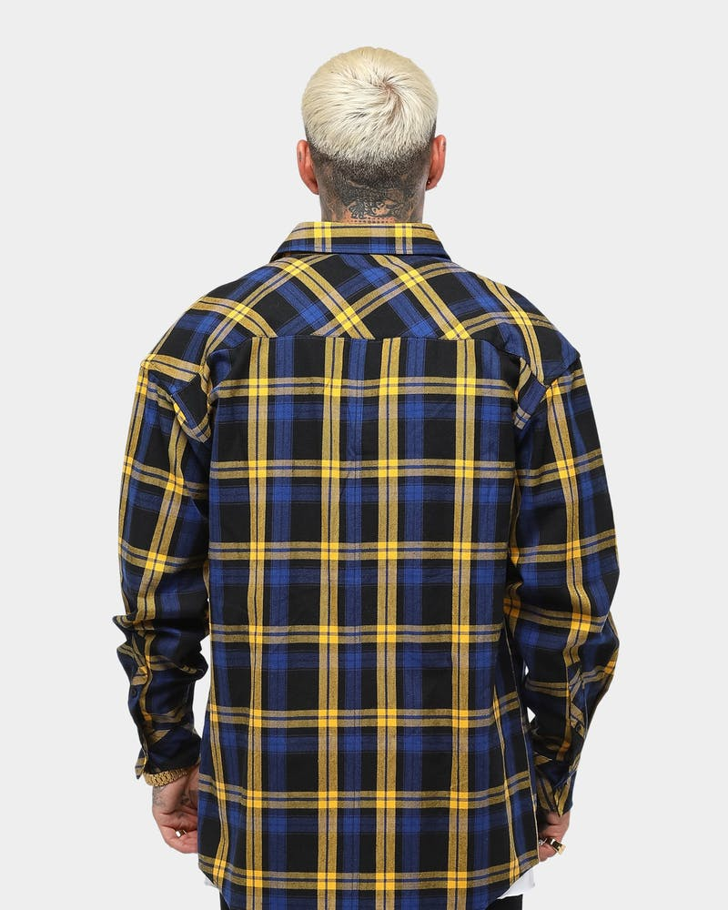 Saint Morta Men's Prima LS Flannel Shirt Navy/Yellow/Black