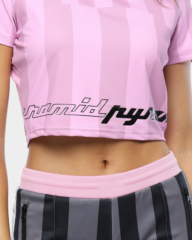 Black Pyramid Women's Vert Stripe Glossy Crop Pink