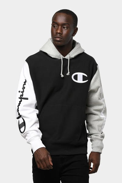 CHAMPION REVERSE WEAVE COLOURBLOCK HOOD BLACK