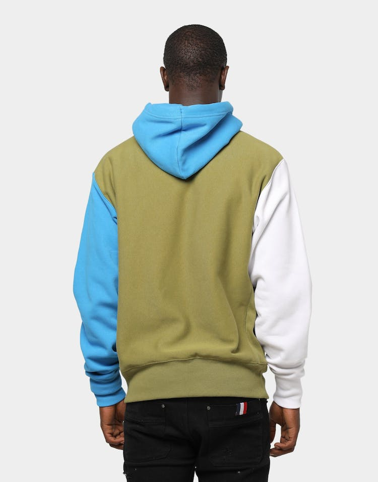 CHAMPION REVERSE WEAVE COLOURBLOCK HOOD OLIVE/KHAKI