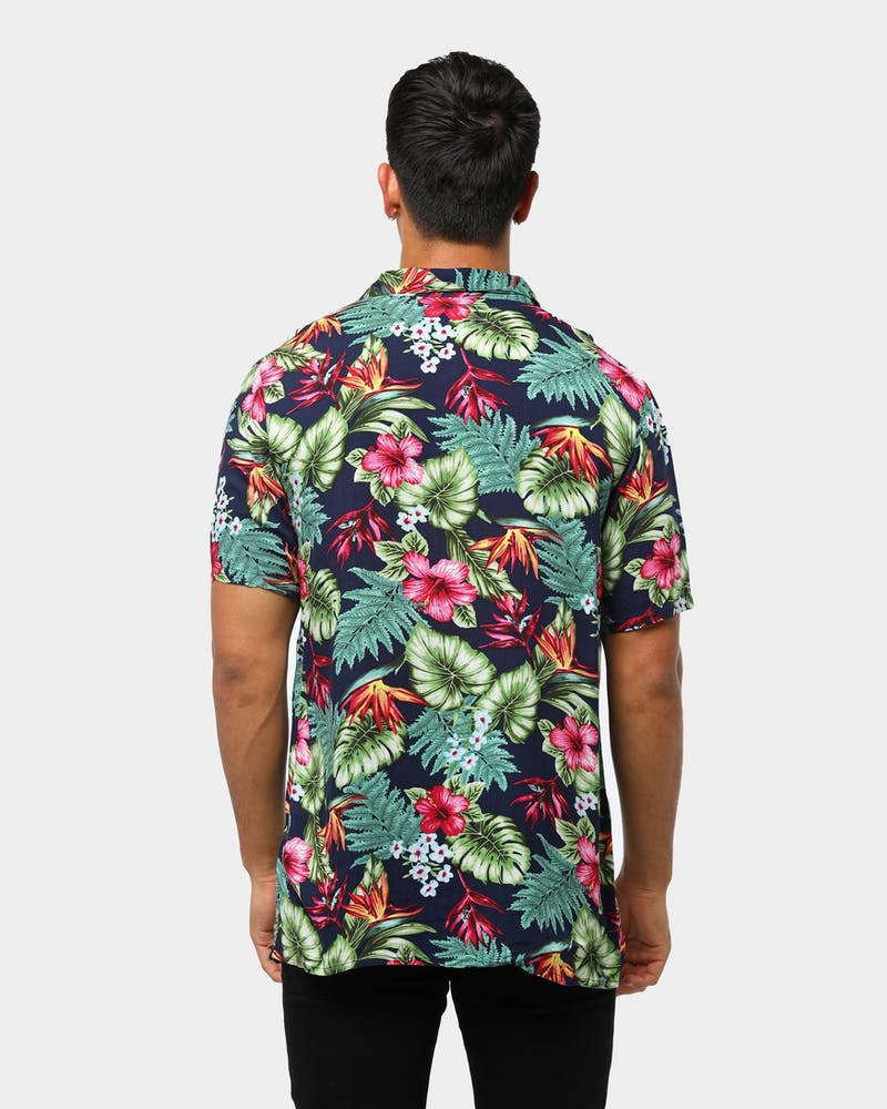 ENES Flora Party Shirt Navy/Multi-Coloured