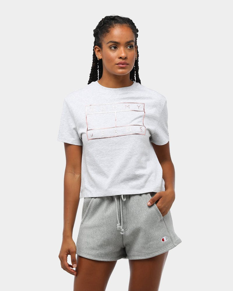 Tommy Jeans Women's TJW Outline Flag T-Shirt Pale Grey
