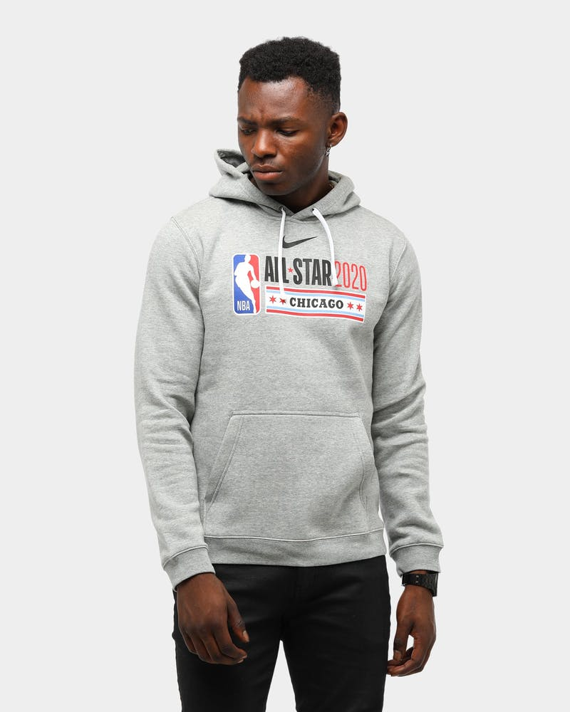 MENS NIKE ALL-STAR WEEKEND '20 PULL OVER FLEECE CLUB LOGO DARK GREY HEATHER