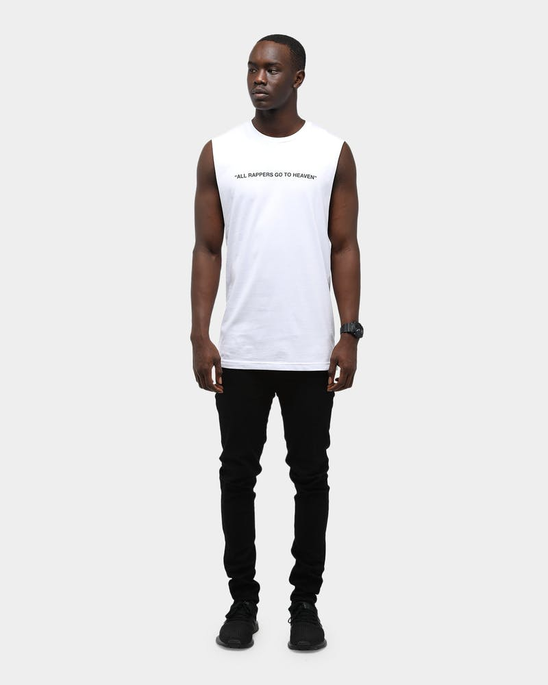 Goat Crew Men's Rappers Go To Heaven Muscle White