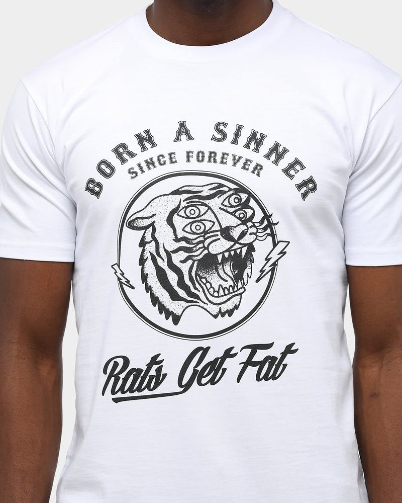 Rats Get Fat Men's Born A Sinner T-Shirt White