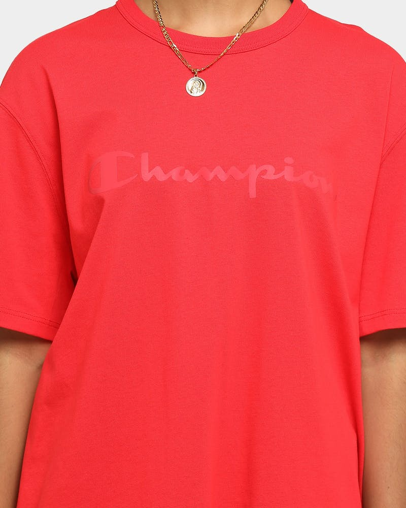 Champion Heritage React Reflective Script T-Shirt Team Red