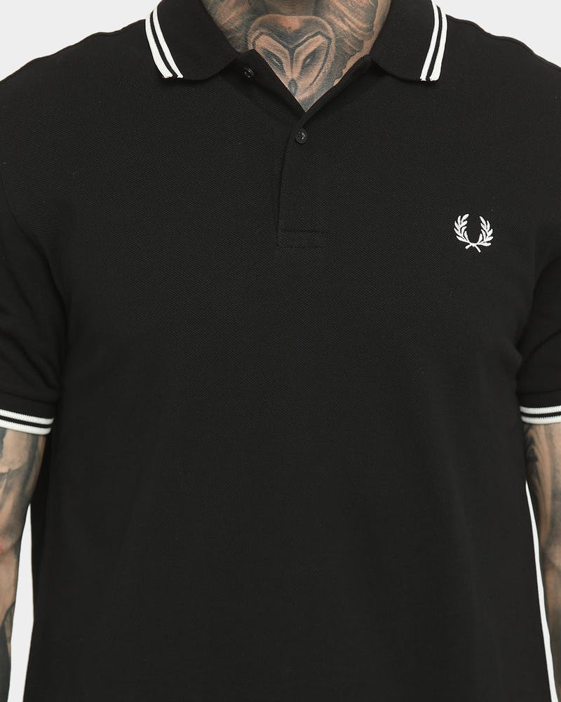 Fred Perry Men's Twin Tipped Polo Shirt Black/Porcelain