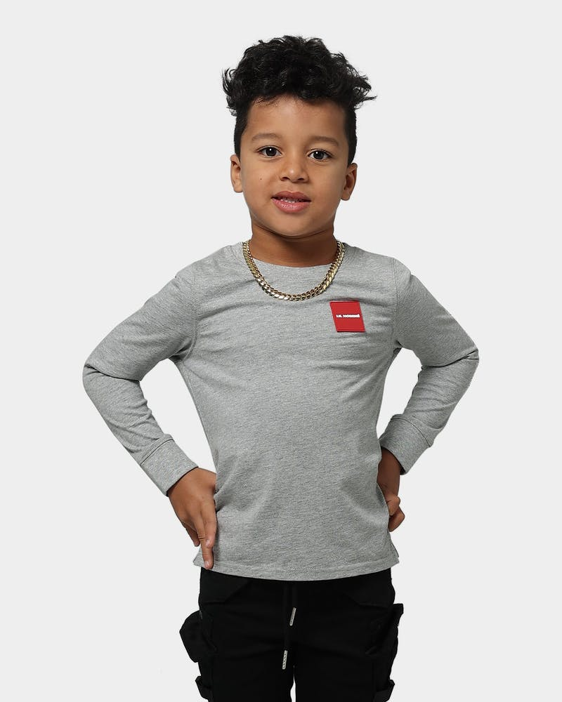 Lil Homme Kid's Objectif Box Long Sleeve T-Shirt Grey Marle