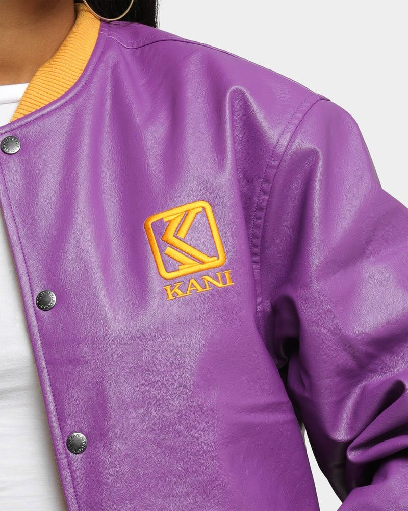 Karl Kani OG Faux Leather College Jacket Purple