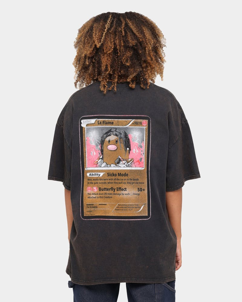 Goat Crew Flame Player Card Vintage T-Shirt Black Wash