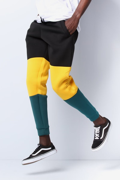 b57c654dd514 Fila Cosmo Scuba Embossed Pant Black/Green/Yellow
