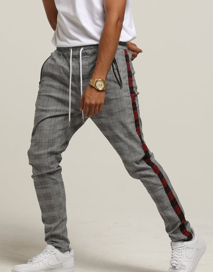 New Slaves Plaid Stripe Pant Grey Plaid