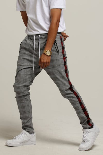 New Slaves Plaid Stripe Pant Grey Plaid