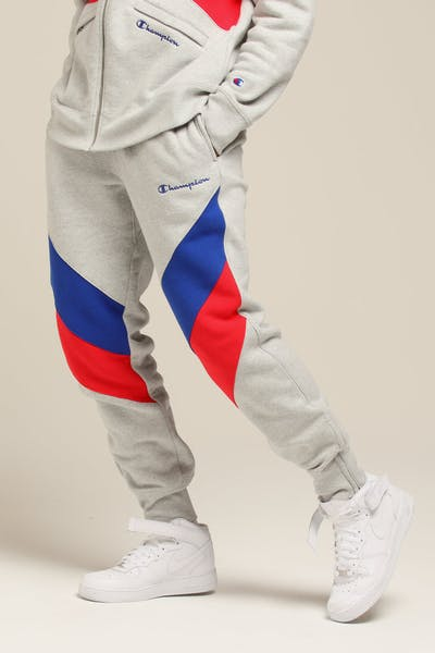 Champion Reverse Weave Colorblock Track Pant Grey/Surf/Scarlet