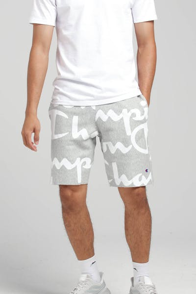 Champion Reverse Weave Cut Off Short All Over Print Grey/Script