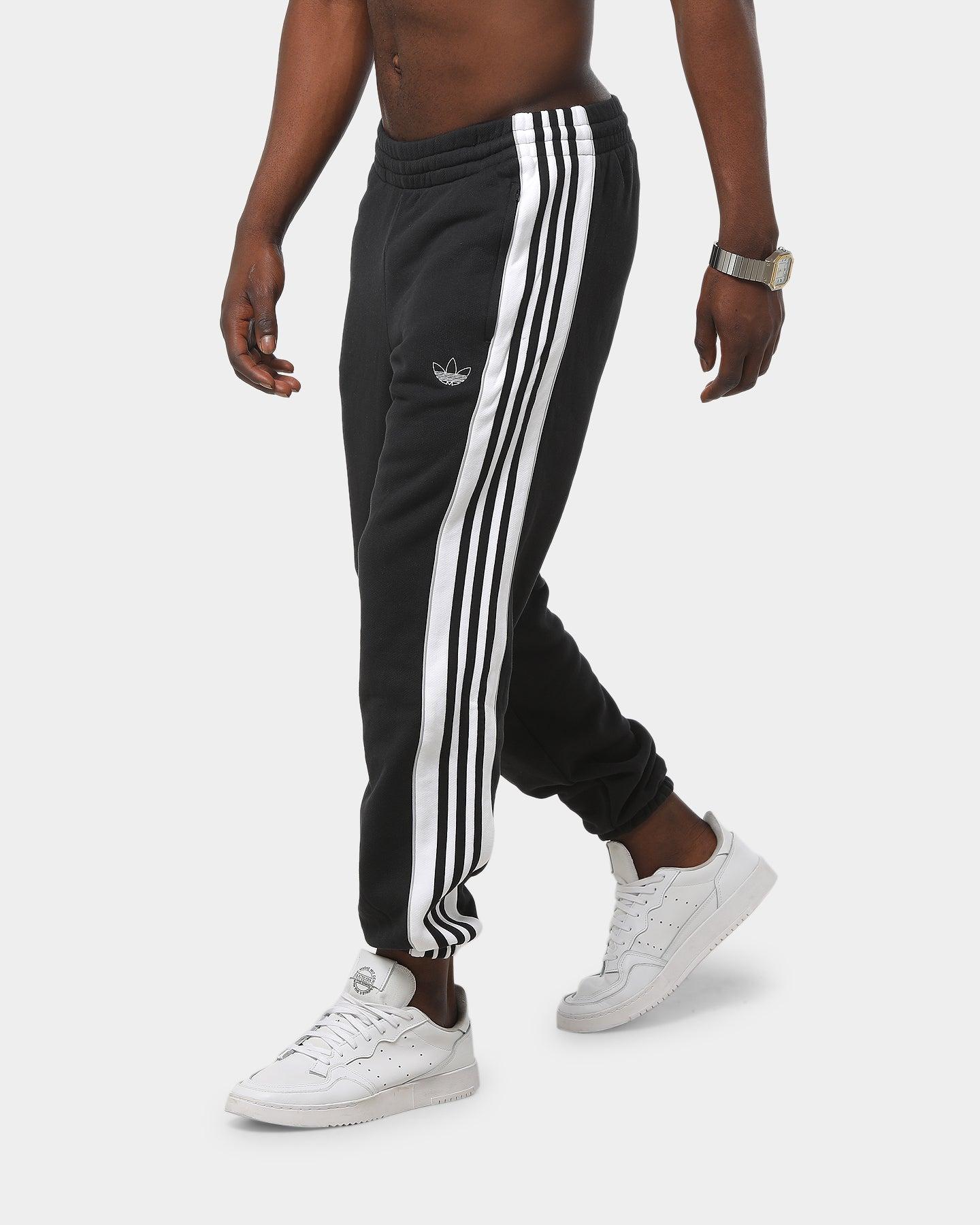Adidas 3 Stripe Panel Sweat Pants BlackWhite