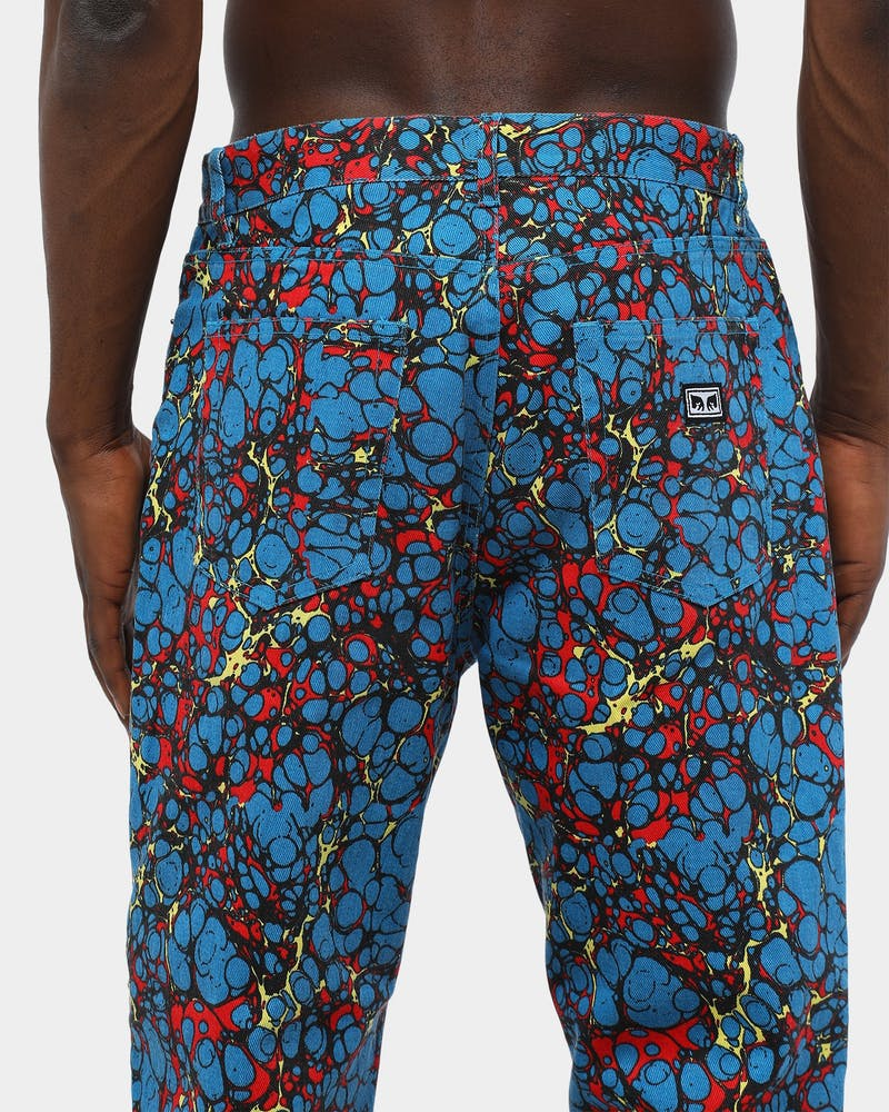 Obey Men's Hardwork Botch Denim Blue/Multi-Coloured