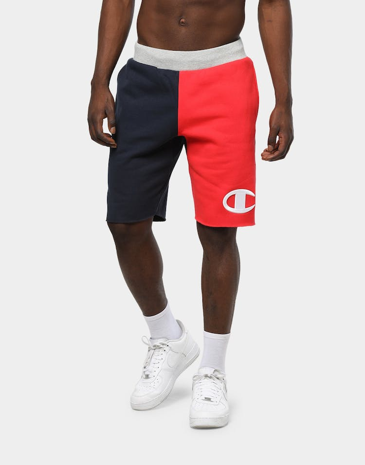 Champion Men's Reverse Weave Colour Block Shorts Red