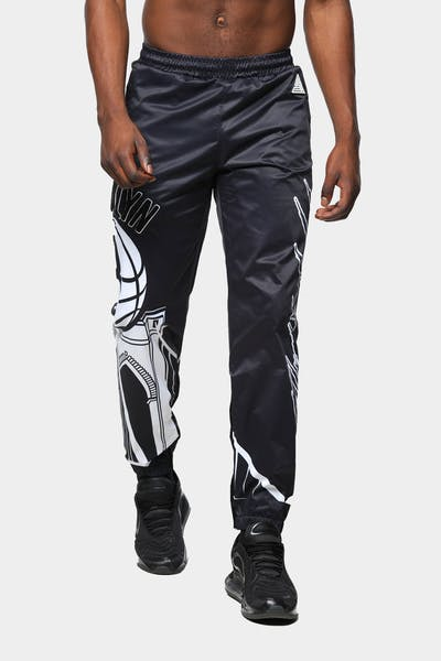 Black Pyramid Men's Brooklyn Nets Logo Pant Black